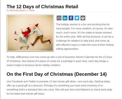 12 Days of Christmas Retail