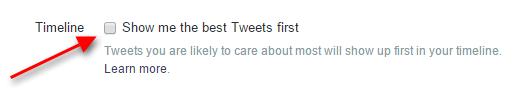 Twitter timeline settings