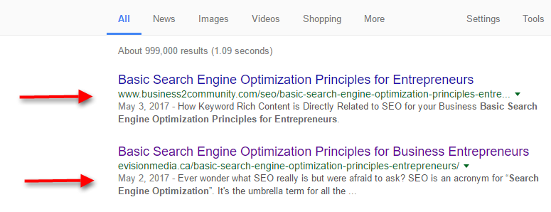 Google description Meta tag example