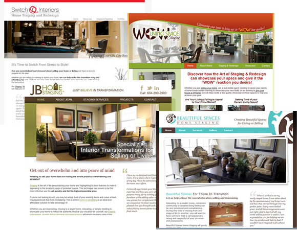 Collage of home stager websites