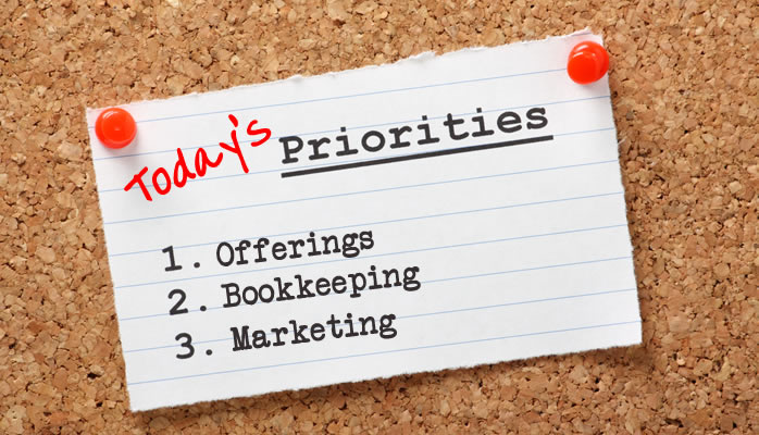 Today's Priorities: Offerings, Bookkeeping, Marketing