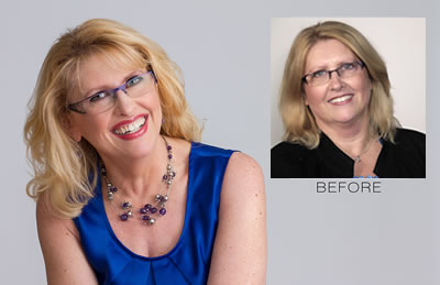 Professional headshot before and after of Susan Friesen