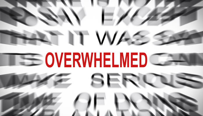 how to say overwhelmed in french