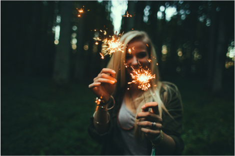time to celebrate yourself woman with sparkler