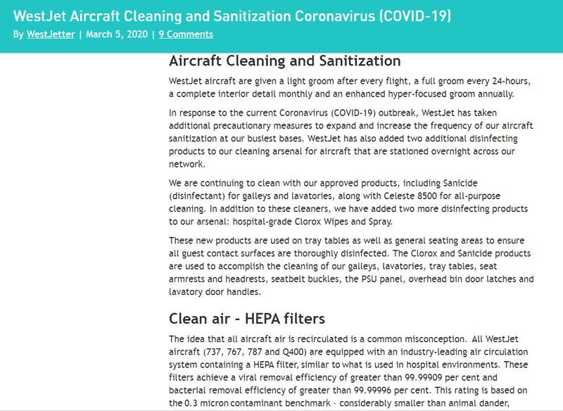 WestJet response to covid-19